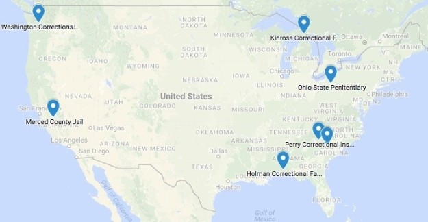 A map of some of the facilities where strike action has occurred since September 9th. BuzzFeed News
